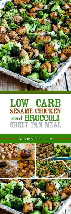 Low-Carb Sesame Chicken and Broccoli Sheet Pan Meal is a quick and easy dinner the whole family will like! And this tasty meal is also Keto, low-glycemic, gluten-free (with gluten-free soy sauce), dairy-free, and South Beach Diet friendly. [found on Kalyn