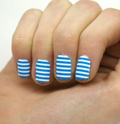 www.greatestnailsever.com Wrap-em Nails Stripes- Cyan - Wrap-em Nails