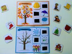 Μαθαίνω τις 4 εποχές (εκτυπώσιμο παιχνίδι) εποχή Preschool, Seasons, Teaching, Activities, Frame, Blog, Crafts, Decor, Picture Frame