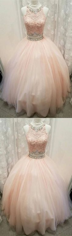 light pink tulle ball gown quinceanera dresses two piece lace crop