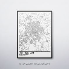 Nottingham Map, Wall Art Prints, Poster Prints, Nursery Modern, International Paper Sizes, Map Art, Printing Services, Digital Image, Unique Art