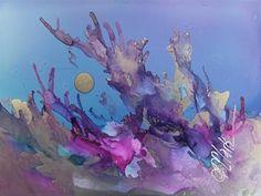 "Daily Paintworks - ""Solar Flare, 4 x 5 Alcohol Ink, Landscape"" - Original Fine Art for Sale - © Donna Pierce-Clark"