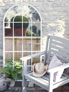 Introduce romance to your outdoor space with our large arched window mirror. With its soft arched top and distressed soft grey finish, this romantic mirror adds new dimension to your garden. Made from mild steel to protect against the weather, this tall m Window Pane Frame, Arched Window Mirror, Arched Windows, Tall Mirror, Frame Mirrors, Hanging Mirrors, Mirror Floor, Ornate Mirror, Small Outdoor Spaces
