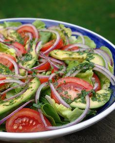 Ensalada verde con aderezo de limón cilantro