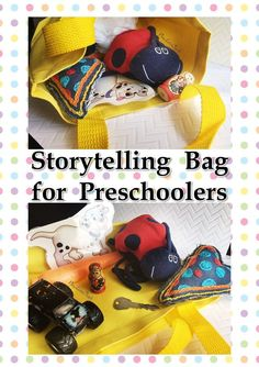 Storytelling bags for preschoolers and toddlers is a fun activity for developing and expanding communication skills, vocabulary, sentence length, and creative expression. Speech Therapy Activities, Language Activities, Teaching Activities, Teaching Resources, Toddler Development, Language Development, Language Arts, English Language, Fun Activities For Toddlers