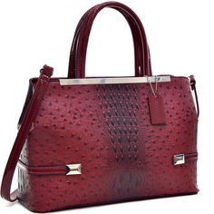 Dasein Frame Ostrich Faux Tote with Shoulder Strap
