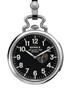 49mm Henry Ford Pocket Watch, Silver by Shinola at Neiman Marcus.