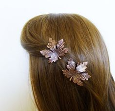 Fall Wedding Hair Accessories Copper Maple Leaf by dreamsbythesea
