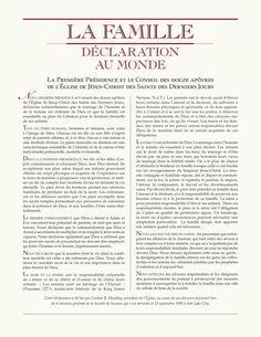La famille, déclaration au monde Proclamation To The World, Lds, Pictures Of God, Psalms, Jesus Christ, Mormons