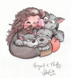 HP fanart - Hagrid and Fluffy by *webmyrcury