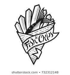 Fish and chips logo or icon with lettering. Traditional british fast food in paper cornet. Black and white isolated vector illustration for menu in restaurant, bar, cafe. Fish And Chips Menu, London Fish And Chips, Fish And Chips Restaurant, Logo Restaurant, Food Brand Logos, Logo Food, Chip Tattoo, Traditional Fish And Chips, British Restaurants