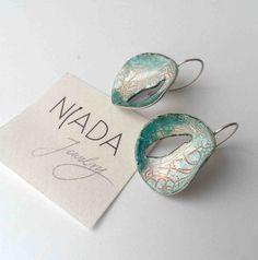 Enamel earrings in the colours of the sea by NiadaJewellery