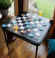 how to redo a folding table with a checkerboard top