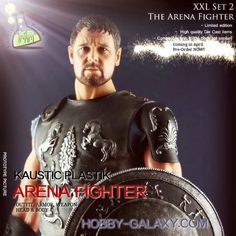KAUSTIC PLASTIK 1/6 SCALE ARENA FIGHTER OUTFIT ARMOR & WEAPON SET PLUS MUSCULAR BODY & HEAD