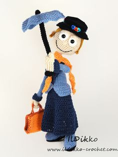 Mary Poppins Amigurumi Pattern ༺✿ƬⱤღ https://www.pinterest.com/teretegui/✿༻