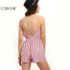 """CandyCane Romper"" - Pattern Type: Striped - Material: Cotton - Style: Vacation - Neckline: Halter - Sleeve Length: Sleeveless - Fabric: Fabric has no stretch - Season: Summer - Fit Type: Regular - Waist Type: Mid Waist - Decoration: Backless Rompers Women, Jumpsuits For Women, Cute Beach Outfits, Mode Boho, Striped Jumpsuit, Beachwear For Women, Striped Fabrics, Beautiful, Cutaway"