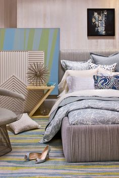 Blue, Grey & Champagne Bedroom | Kelly Wearstler Designs | House & Home