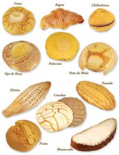"""Names of some """"Pan Dulce Mexicano"""" (Mexican Sweet Bread). Mexican Pastries, Mexican Bakery, Mexican Sweet Breads, Mexican Bread, Mexican Dishes, French Pastries, Authentic Mexican Recipes, Mexican Food Recipes, Dessert Recipes"""