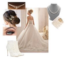 """Dream Wedding"" by alethiana ❤ liked on Polyvore featuring Brides & Hairpins, Dolce&Gabbana and Rosantica"