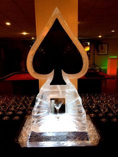A spade ice luge for a casino night party.