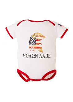 Molon Labe Infant Cotton One Piece Bodysuit – Star Spangled 1776 Cute Baby Boy, Cute Baby Clothes, Cute Babies, Baby Kids, Babies Stuff, Newborn Outfits, Baby Boy Outfits, Kids Outfits, Molon Labe