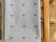 Blue Block Print Fabric Boho Fabric Indian lotus flower