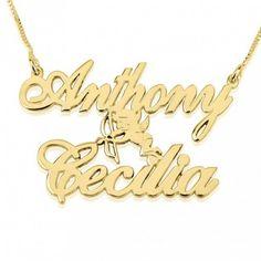 Collar Dos Nombres entre Cupido en plata chapada en Oro de 24K
