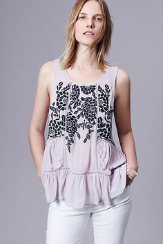 Embroidered Roselle Tank