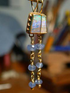 Boulder Opal Earrings 22k Gold Granulation with Ceylon by Kulicke