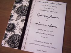 This wedding invitation called Midnight Rose has been made using black rose deco paper and features black spotty edging paper and a black 6mm satin ribbon. The white paper, backing card and envelope (all matching) are luxuriously smooth and satiny without being pearlescent. Note that the backing card is 261 gsm to give the invitation strength, so it won't crumple or bend! (https://www.etsy.com/listing/109968651/midnight-rose-wedding-invitation)