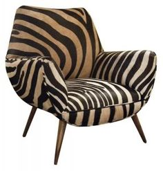 Comfort, style and Zebra print. Great statement chair and perfect for my living room. Animal Print Furniture, Zebra Chair, Vintage Chairs, Take A Seat, Sofa Chair, Chair Upholstery, Cool Chairs, Art Deco, My Living Room
