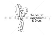 """{from the itty bitty collection}.  Created by Joslyn Nielson.  Set of baking utensils measure approximately 1"""" x 2.25"""".  """"the secret ingredient is love"""" sentiment measures approximately .75"""" x 1"""".  All Unity Stamps are pre-cut, mounted on cling foam and ready to use right out of the package – you can mount our stamps on any acrylic block.  Unity is known for its HIGH QUALITY red rubber stamp – to be used for years to come."""