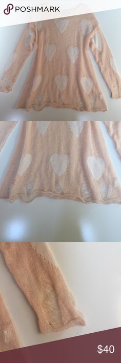 "Alex Mark distressed heart sweater *RARE* I purchased this sweater from a small boutique in North Carolina, and haven't been able to find the designer since!  Lightweight, tunic style Pink with white hearts Distressing throughout  Crew neck  100% acrylic Approximately length: 28"" -- measured from top of shoulder to bottom hem  Perfect with skinnies! 🍂🍁 Alex Mark Sweaters"