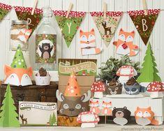 Mapache de venado de bosque partido decoración imprimible kit fox bebé oso conejo bosque bandera de envolturas de cupcake animales favorece cumpleaños de ducha bebé DIY