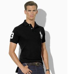 Ralph Lauren Men\u0027s Custom-Fit Big Pony Short Sleeve Polo Shirt Black / White  http