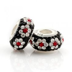 Silver Red White Black Flower Crystal Bead