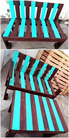 Sitting outside the home and having a meal with the family is sometimes refreshing, so here is an idea for creating a bench and table plan. The colors used for painting the pallets are attractive which will make the area graceful where it will be placed to fulfill the seating requirement.