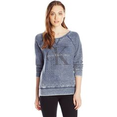 Calvin Klein Jeans Women's L/s Washed Embellished Sweatshirt ($35) ❤ liked on Polyvore featuring tops, hoodies, sweatshirts, embellished tops, blue sweatshirt, blue top, calvin klein jeans and embellished sweatshirt