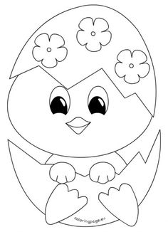 Baby Chick Easter Coloring Pages Easter Egg Coloring Pages, Coloring Pages For Kids, Coloring Books, Easter Drawings, Art Drawings For Kids, Easter Art, Easter Crafts For Kids, Easter Templates, Templates Free