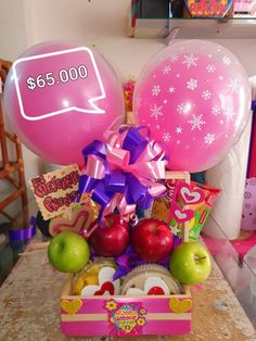 Homeade Gifts, Birthday Eve, Balloon Gift, Balloon Ideas, Birthday Photo Frame, Themed Gift Baskets, Client Gifts, Diy Party Decorations, Xmas Gifts