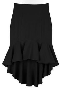 Black Ruffled High Waist Skirt