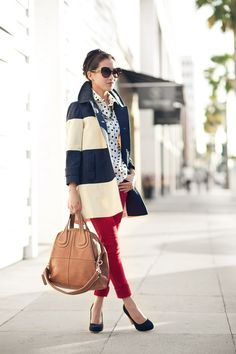 polka-dots and stripes with red pants, works sooo well!