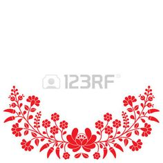 Popular h�ngara rojo estampado de flores - bordados Kalocsai con flores y piment�n photo