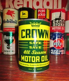 CROWN ALL SEASON 1 QT. Metal Motor Oil Can, circa 1940's