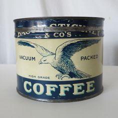 EAGLE COFFEE VINTAGE 1 LB SIZED KEYWIND TIN, BACON, STICKNEY & CO, ALBANY, NY #EAGLE