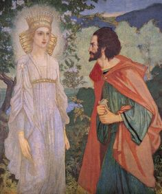 John Duncan was a Scottish painter. John Mckirdy Duncan, Merlin and the Fairy Queen. Merlin, Renaissance, John Duncan, King Arthur Legend, Irish Mythology, Medieval, Celtic Goddess, Fairy Queen, Goddess Of Love
