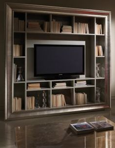Diva Collection Freestanding Tv Unit And Bookcase Shown Here In A Mink Lacquered Finish With
