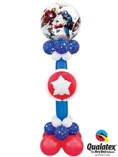 For your party decor, think about balloon columns in your hero's colors. This one even has Captain America's iconic shield! #qualatex #balloon #avenger