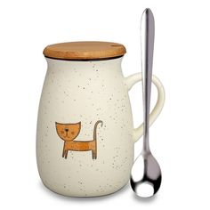 AmazonSmile | Cat Mug, Funny Ceramic Coffee mugs with Lid and Spoon, Cute Tea Cups Novelty Gift for Cat Lovers, Women, Girlfriends: Coffee Cups & Mugs Best Coffee Mugs, Cat Coffee Mug, Glass Coffee Mugs, Cat Mug, Coffee Gifts, Funny Coffee Mugs, Coffee Humor, Gifts In A Mug, Gift Mugs