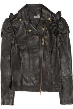 Love+Moschino+Ruffled+leather+biker+jacket